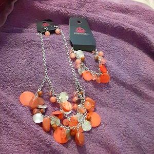 Paparazzi necklace earring and bracelet set